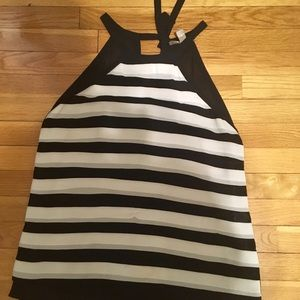 Forever 21 Black and ivory tie back Shell